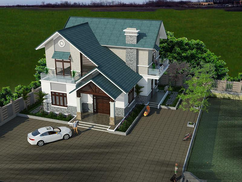 Mẫu biệt thự mái thái 2 tầng đẹp