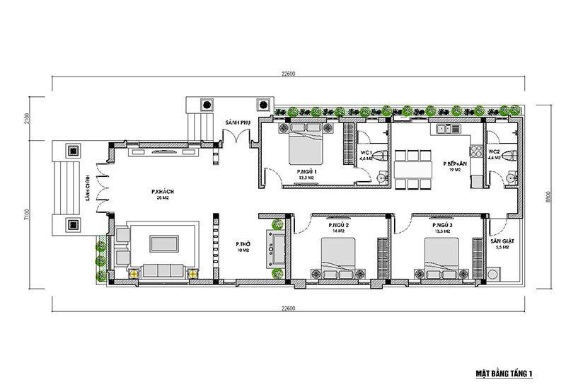 mặt bằng nhà 1 tầng mái thái 3 phòng ngủ