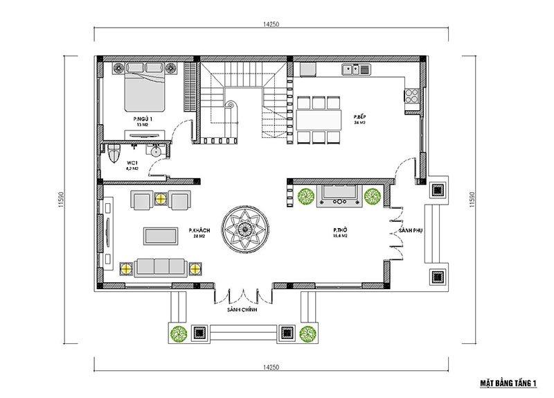 mặt bằng tầng 1 biệt thự 2 tầng mái thái 120m2