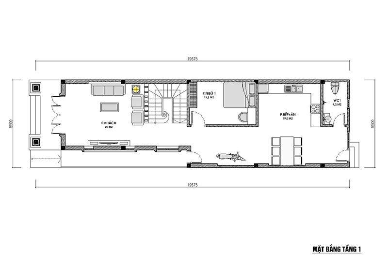 mặt bằng tầng 1 nhà 2 tầng 100m2 mái thái hiện đại