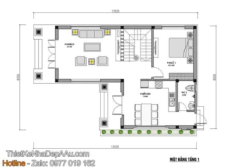 mặt bằng tầng 1 nhà biệt thự 2 tầng mái thái 80m2