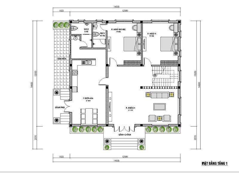 mặt bằng tầng 1 nhà cấp 4 có gác lửng 150m2