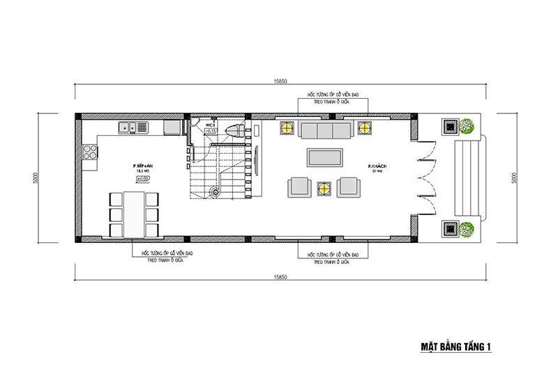 mặt bằng tầng 1 nhà phố 3 tầng mặt tiền 5m mái thái