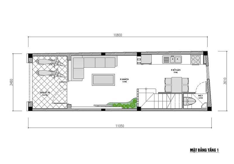 Mặt bằng tầng 1 nhà phố mặt tiền 3,5m