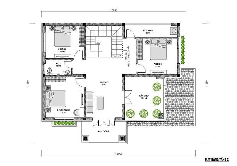 mặt bằng tầng 2 biệt thự 2 tầng mái thái 120m2