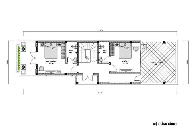 mặt bằng tầng 2 nhà 2 tầng 100m2 mái thái hiện đại