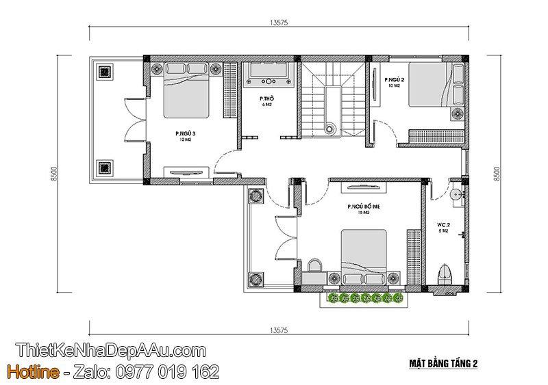 mặt bằng tầng 2 nhà biệt thự 2 tầng mái thái 80m2