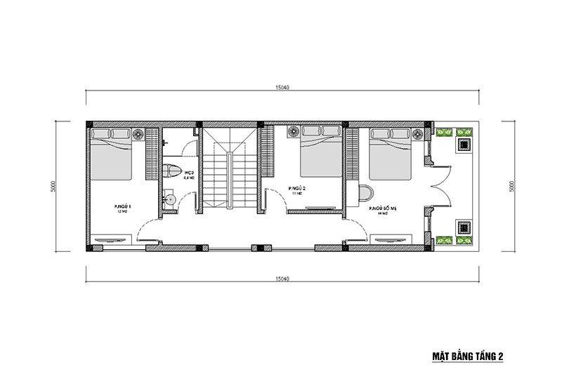 mặt bằng tầng 2 nhà phố 3 tầng mặt tiền 5m mái thái