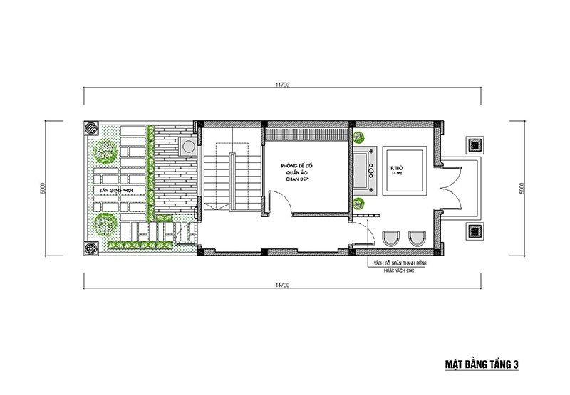 mặt bằng tầng 3 nhà phố 3 tầng mặt tiền 5m mái thái