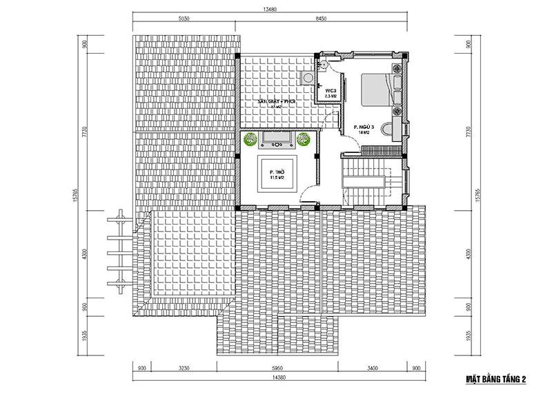 mặt bằng tầng lửng nhà cấp 4 có gác lửng 150m2
