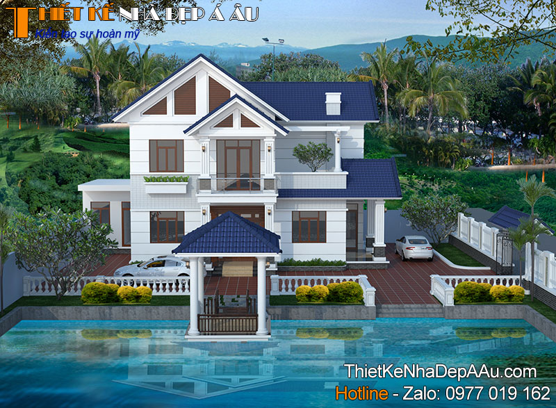 Mẫu thiết kế nhà 2 tầng mái thái 120m2