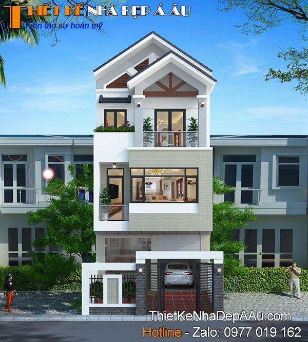nhà phố 3 tầng mái thái hiện đại 80m2 mặt tiền 6m 4 phòng ngủ