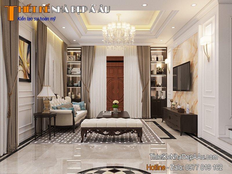 thiết kế nội thất nhà 2 tầng chữ l 80m2