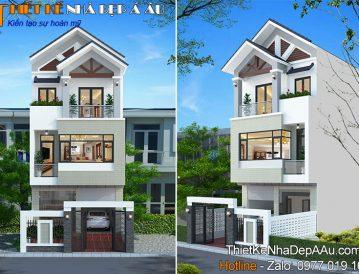 thiết kế nhà phố 3 tầng mái thái hiện đại 80m2 mặt tiền 6m
