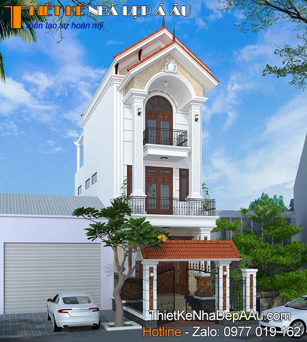 thiết kế nhà phố mái thái 3 tầng mặt tiền 5m