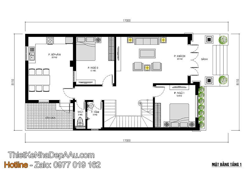 mặt bằng tầng 1 biệt thự 2 tầng mái thái