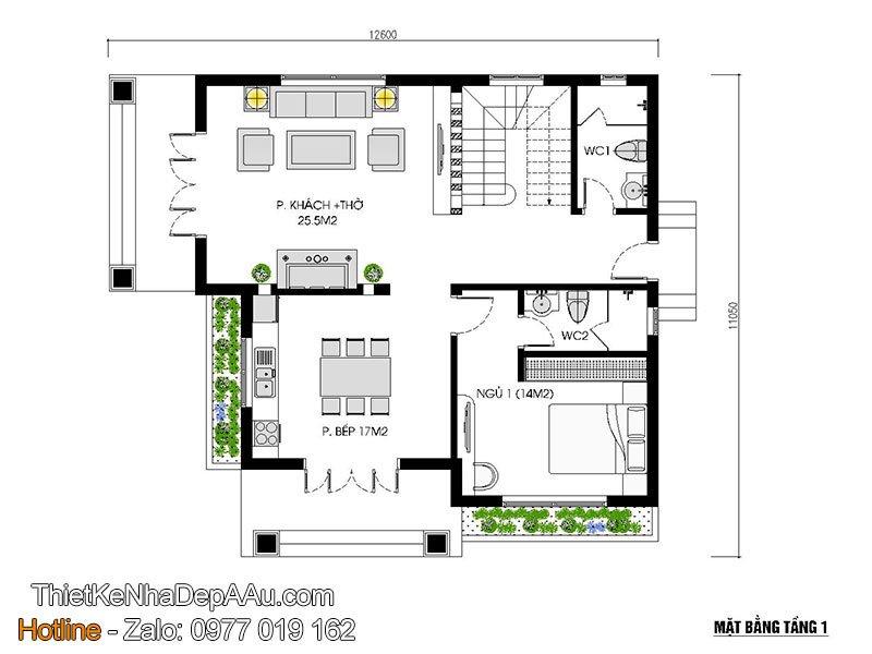 mặt bằng tầng 1 biệt thự mái thái 2 tầng
