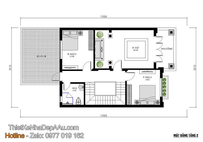 mặt bằng tầng 2 biệt thự 2 tầng mái thái