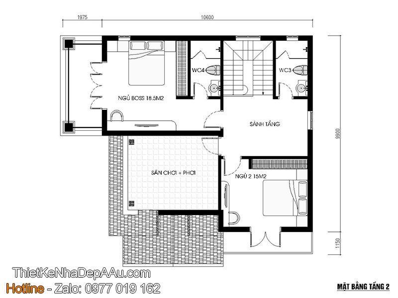 mặt bằng tầng 2 biệt thự mái thái 2 tầng