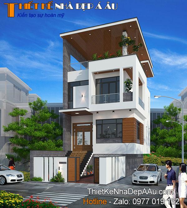 mẫu nhà phố 2 mặt tiền 2 tầng 1 tum có 3 phòng ngủ