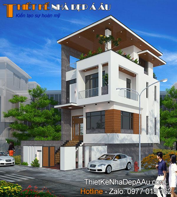 nhà phố 2 mặt tiền 2 tầng 1 tum mặt tiền 6m