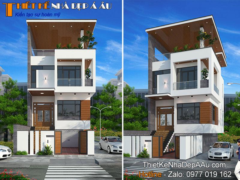 nhà phố 2 mặt tiền 2 tầng 1 tum