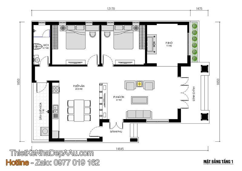mặt bằng công năng mẫu nhà cấp 4 2 phòng ngủ
