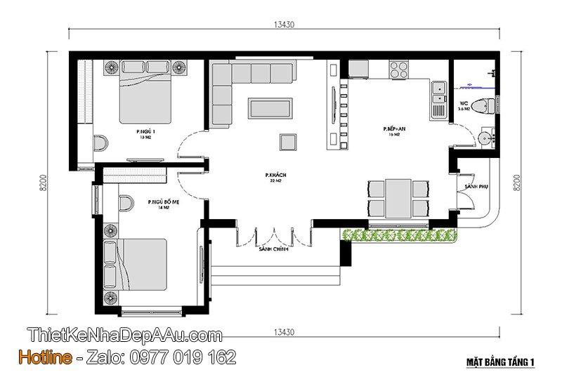 mặt bằng nhà cấp 4 mái thái 2 phòng ngủ
