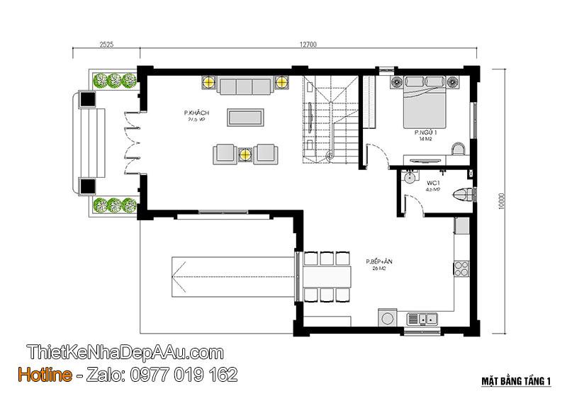 mặt bằng tầng 1 biệt thự 3 tầng có tầng hầm