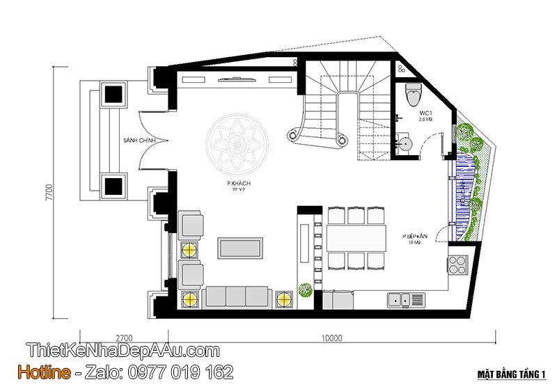 Không gian nội thất thiết kế thoáng mát tiện nghi