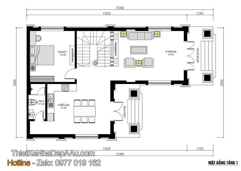 mặt bằng tầng 1 mẫu nhà 2 tầng mái thái 100m2
