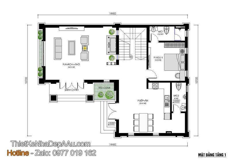 mặt bằng tầng 1 mẫu thiết kế nhà 2 tầng chữ l