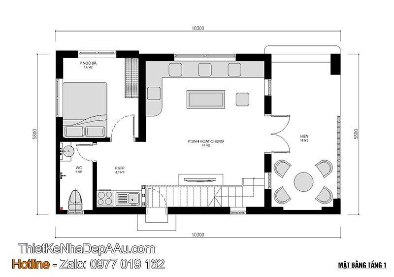 mặt bằng tầng 1 nhà cấp 4 mini
