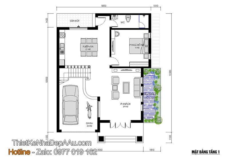 mặt bằng tầng 1 nhà vuông 2 tầng mái thái