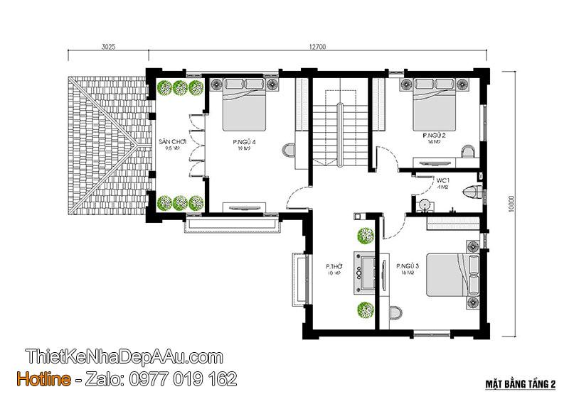 mặt bằng tầng 2 biệt thự 3 tầng có tầng hầm
