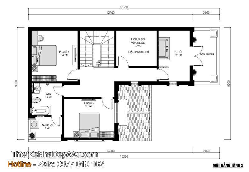 mặt bằng tầng 2 mẫu nhà 2 tầng mái thái 100m2
