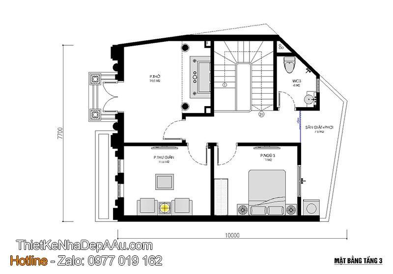 mặt bằng tầng 3 biệt thự 3 tầng kiểu pháp mặt tiền 8m