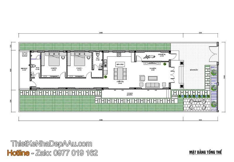 mặt bằng nhà cấp 4 mái thái 6x20