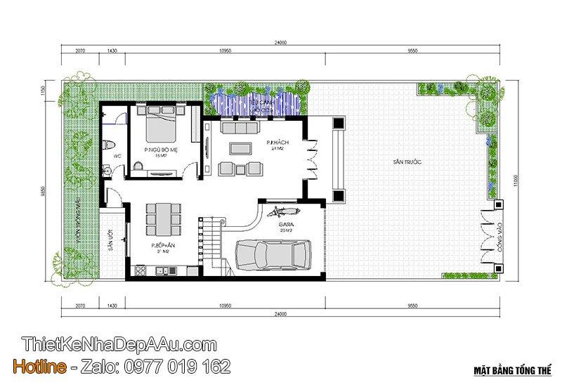 mặt bằng tổng thể nhà vuông 2 tầng mái thái