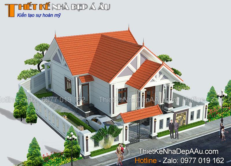 nhà đẹp cấp 4 kiến trúc á âu