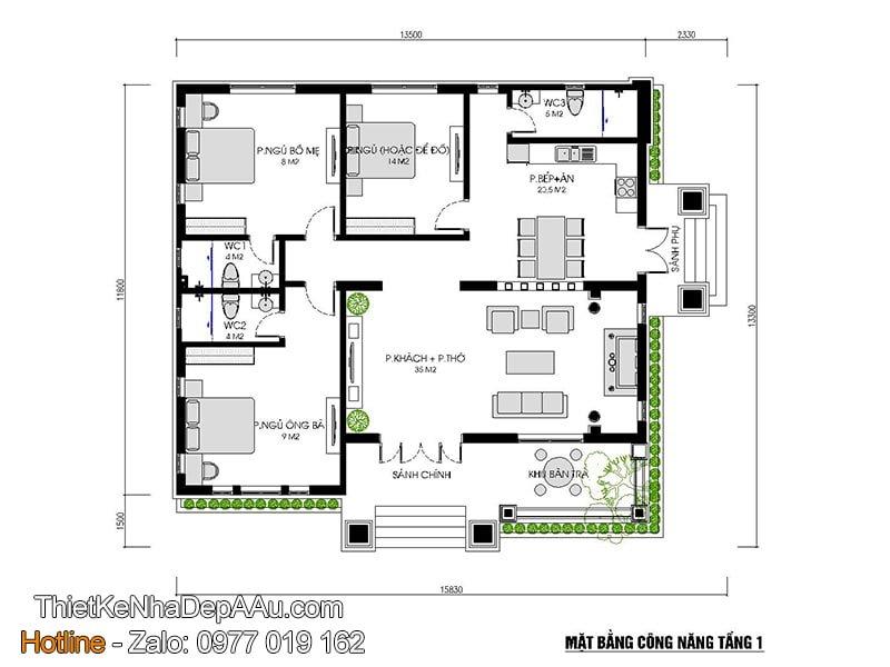 mặt bằng mẫu biệt thự 1 tàng 3 phòng ngủ 150m2