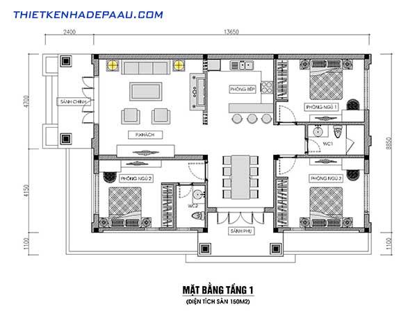 mặt bằng nhà 1 tầng mái thái 3 phòng ngủ đẹp