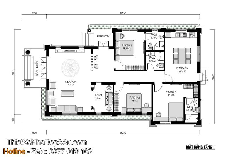 mặt bằng nhà 1 tầng đơn giản đẹp giá rẻ