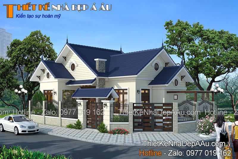 Bản vẽ kiến trúc tổng thể nhà 1 tầng mái thái 2 phòng ngủ