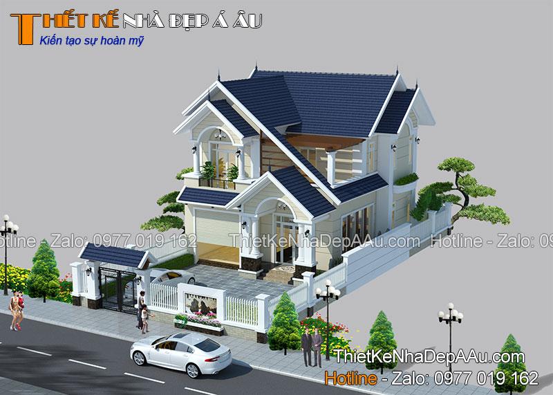 Mẫu nhà 2 tầng mái thái hiện đại