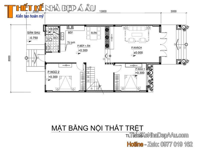 Mặt bằng biệt thự 2 tầng 5 phòng ngủ