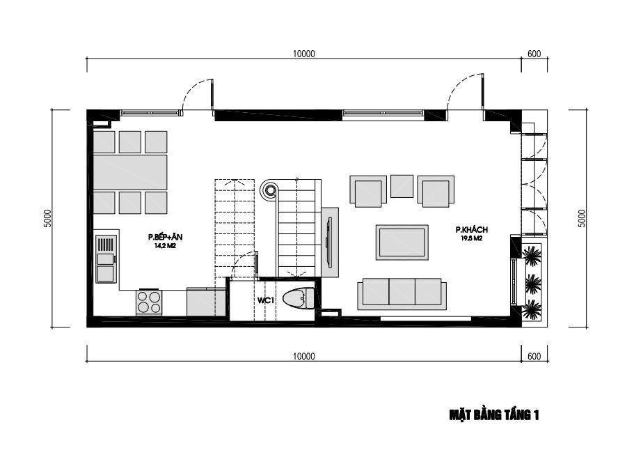 Mặt bằng nhà phố 3 tầng 50m2