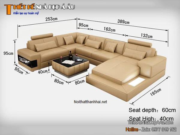 kích thước sofa chữ U