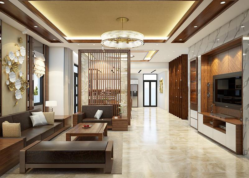 thiết kế nội thất gỗ tân cổ đẹp
