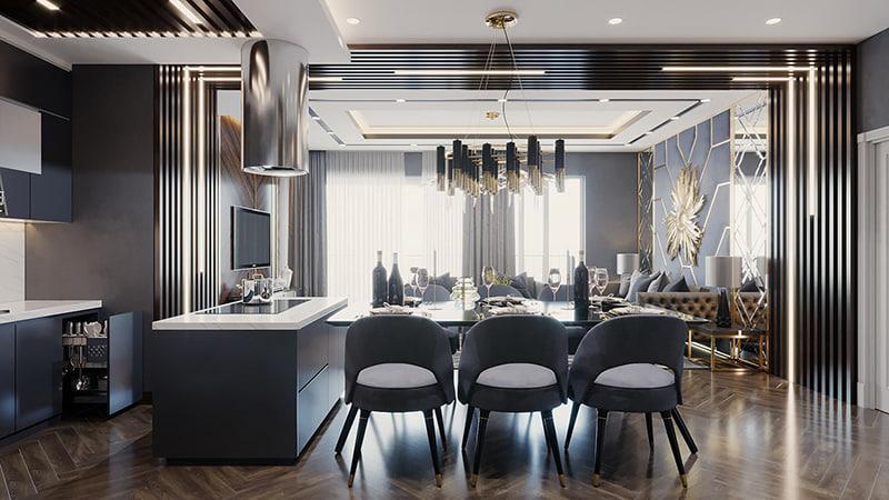 bộ nội thất sofa cao cấp trang trí phòng bếp